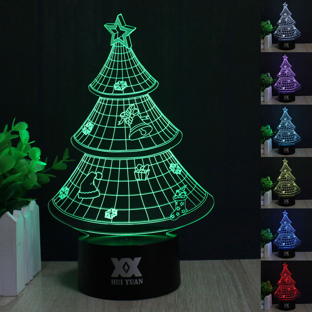 3D Visual Led Night Lights for Kids Christmas Tree Touch USB Table ...