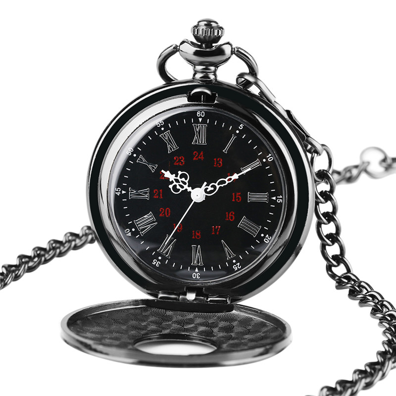 Charm Black Necklace Roman Number Quartz Pocket Watch Steampunk Pocket Chain Women Man Pendant With Short Chain Gifts