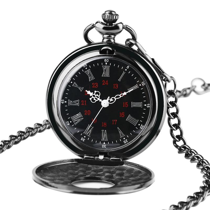 Charm Black Necklace Roman Number Quartz Pocket Watch Steampunk Pocket Chain Women Man Pendant With Short Chain Gifts