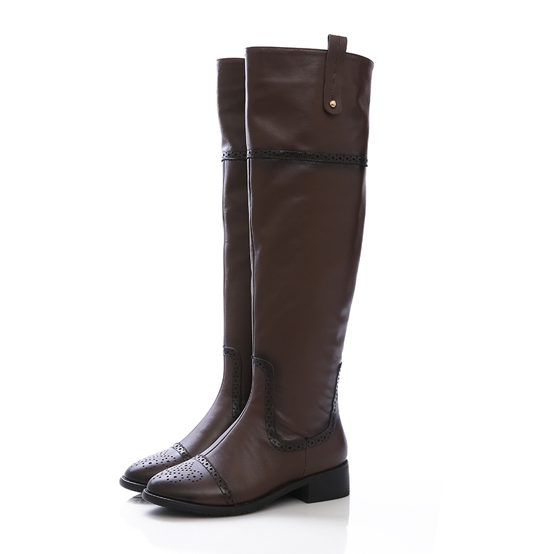 Full Grain Leather knight boots Retro style women boots Square low heel Knee High long boots