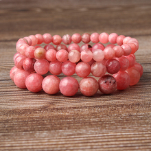 LIngXiang  natural jewelry 6/8/10/12mm rose red Rhodochrosite stones loose beads Bracelet Charms Yoga Women meditation amulet