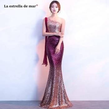 Robe fille d'honneur new sequin one shoulder silver red gold purple sexy mermaid bridesmaid dress long vestidos para boda