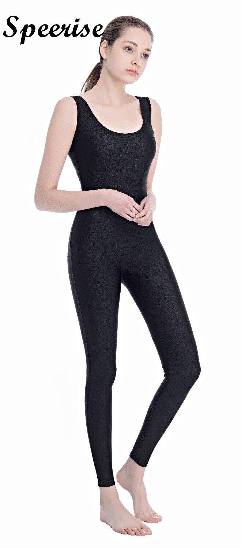 3586e8234 SPEERISE tanque negro Unitard mujeres Lycra Ballet completo sin mangas  cuerpo apretado mono trajes de danza mono