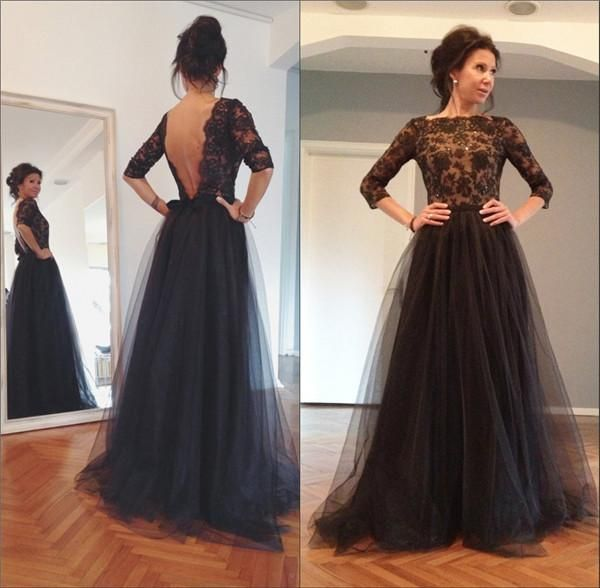 Bateau Neck Three Quarter Lace Sleeves Formal Evening Dresses Tulle