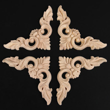 4pcs 8*8cm/3.15″*3.15″ Retro Wood Carving Decal Corner Applique Frame Door Decorate Wall Doors Decorative Figurines Wooden