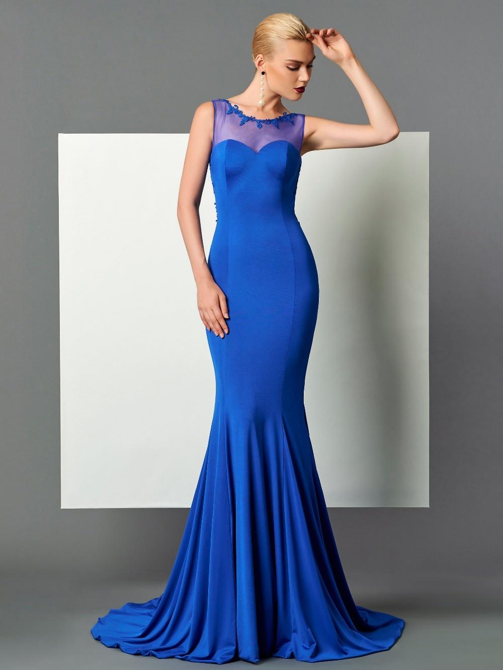 Sexy bleu Spandex robes de soirée longues robes de bal robe de soirée avec Appliques robe de soirée vestido longo