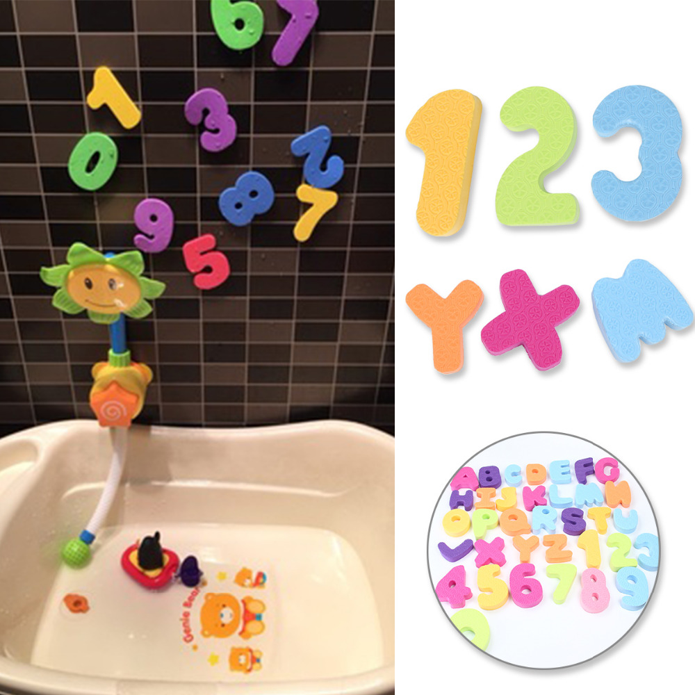 36pcs Colorful Soft Floating Numbers and Letters Alphabet Bathing Toys Stick on Wall Children Baby Water Toys Classic Toys