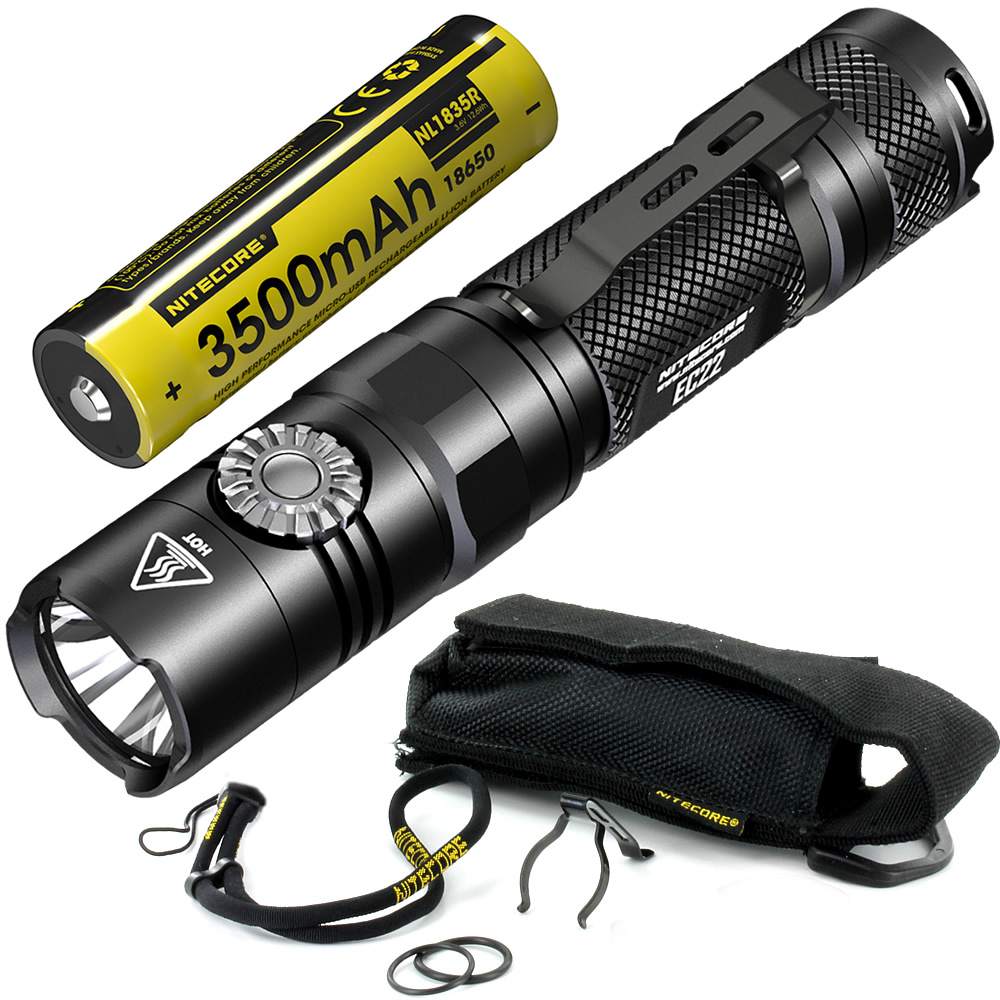 Free Shipping NITECORE EC22 + USB Port 18650 Rechargeable Battery Brightness Flashlight Waterproof Outdoor Camping Hiking Torch nitecore ec4gts 1800lm high performance blazing searchlight 396 meter torch hunt outdoor hiking camping flashlight free shipping