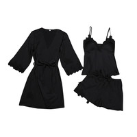 Sexy pajamas Woman sleeping clothes sexy Womens Sexy Satin Sling Robe Sleepwear Lingerie Lace Nightdress Underwear 6.25 0.5
