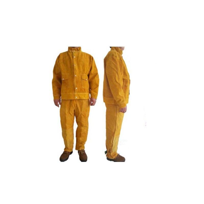 Сварки Защитная одежда комплект из коровьей кожи куртка Брюки для девочек свободный размер Детская безопасность одежды для сварщиков 110301