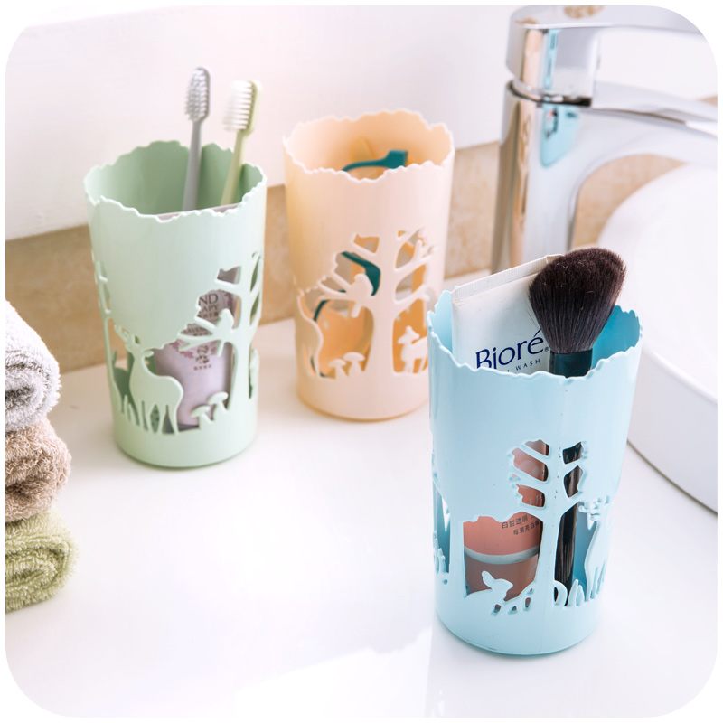 1pc Macaron Color Hollow Deer Table Cosmetic Makeup Acrylic Storage Box Case Brush Pen Holder Container Organizer Desktop Pencil