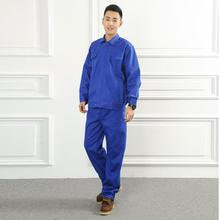 Blue Set Of Coat+Pants Welding Clothes Flame Retardant Clothing 100% Cotton Breathable Fireproofing Work Uniforms(China)