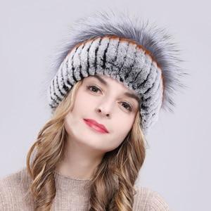 Image 5 - Outdoor Women Warm Soft Genuine Rex Rabbit Fur Hat Knitted Natural Real Sliver Fox Fur Caps Winter Real Rabbit Fur Beanies Hats