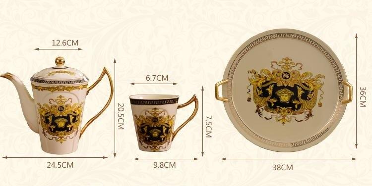 Позолоченные Кофейные Наборы чашек костяного фарфора/8 шт чайных чашек керамические. 1 чайник и 6 чашек - 2