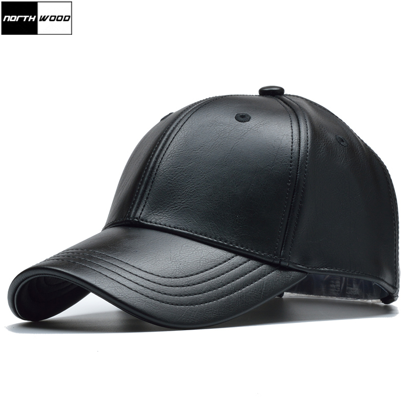 [NORTHWOOD] Solid Winter Leather Baseball Cap Men Branded Snapback Autumn Warm Black Cap Women Bone Masculino Mens Caps And Hats