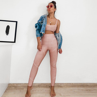 2019 Summer New 2 Piece Two piece Strap Jumpsuit Sleeveless Strap Bodycon Jumpsuit Fitness Sportswear Party Jumpsuit