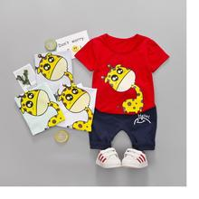 DIIMUU 2PCs Summer Baby Boy Boys Kids Children Cartoon Letter O-neck T-shirt + Short Pants Clothing Causal Outfits Suits Elastic