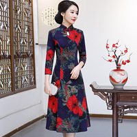Autumn New 3/4 Sleeve Woolen Vintage Cheongsam Traditional Chinese Floral Women Qipao Elegant Evening Party Dress Gown 4XL 5XL