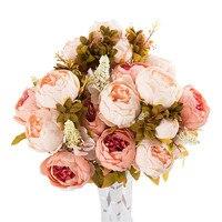 3 Bouquet 24 Heads Artificial Peony Fake Flower Leaf Home Wedding Party Decorative U70227 DROP SHIP
