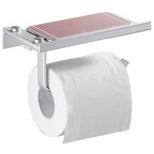 Fashion Square Shape Toilet Roll Paper Holder Aluminum Wall-mount Mobile
