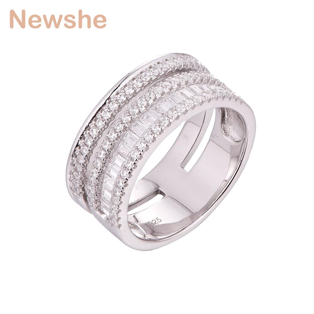 Newshe 925 Sterling Silver Wedding Ring Engagement Band Classic Jewelry For Women GR01339A