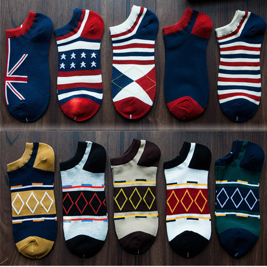 5 Pairs/lot Classic Cotton Boat Ankle Men Socks Colorful Pattern Casual Summer Invisible Male Socks Set Calcetines Hombre 2018
