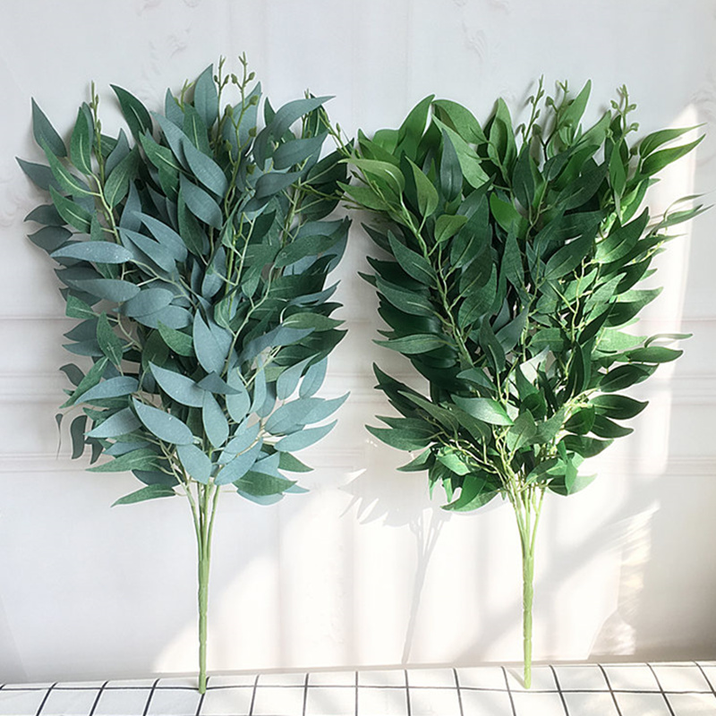 Artificial willow bouquet fake leaves for Home Christmas wedding decoration jugle party willow vine faux foliage plants wreath(China)