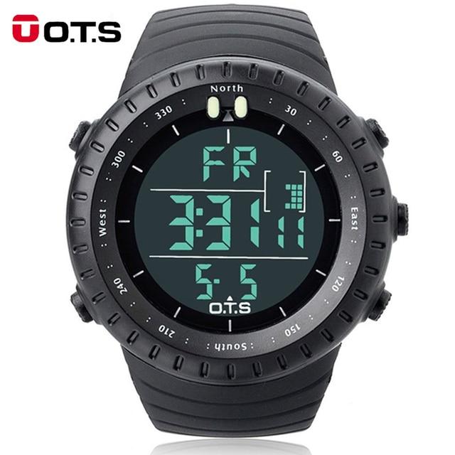 Fashion Men's Brand OTS 7005G Shock Outdoor Waterproof Swimming Sport Arc-shaped Glass LED Light Digital Watch Relogio Masculino