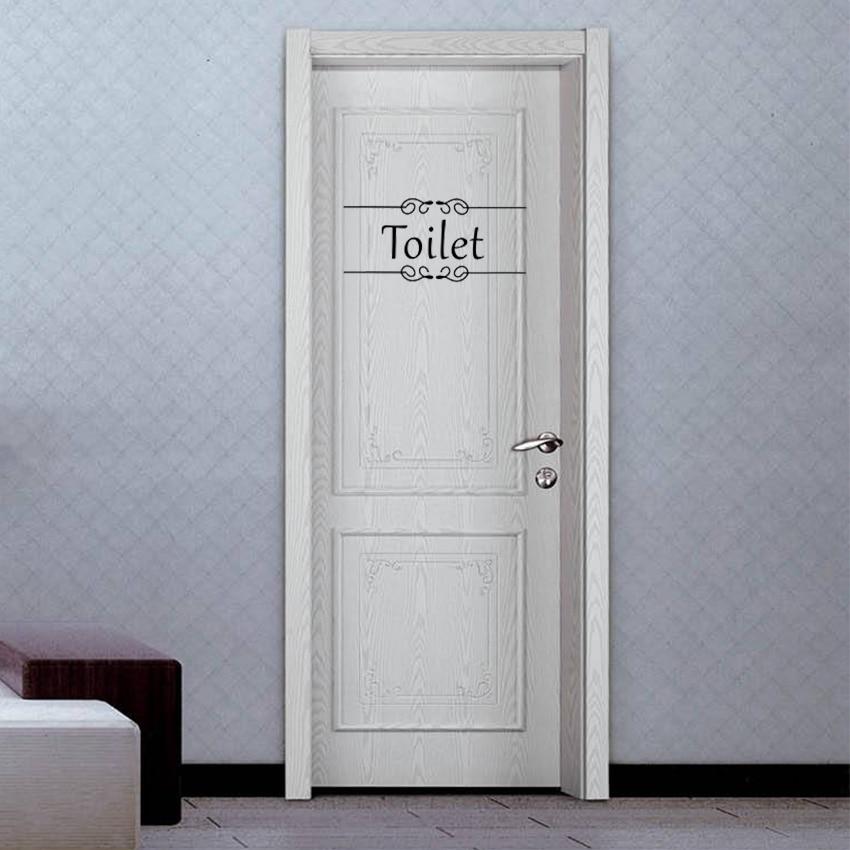 1PC Creative Bathroom Toilet Decor Door Sticker Wall Sticker Vinyl Decal PVC Vintage Decoration Sticker