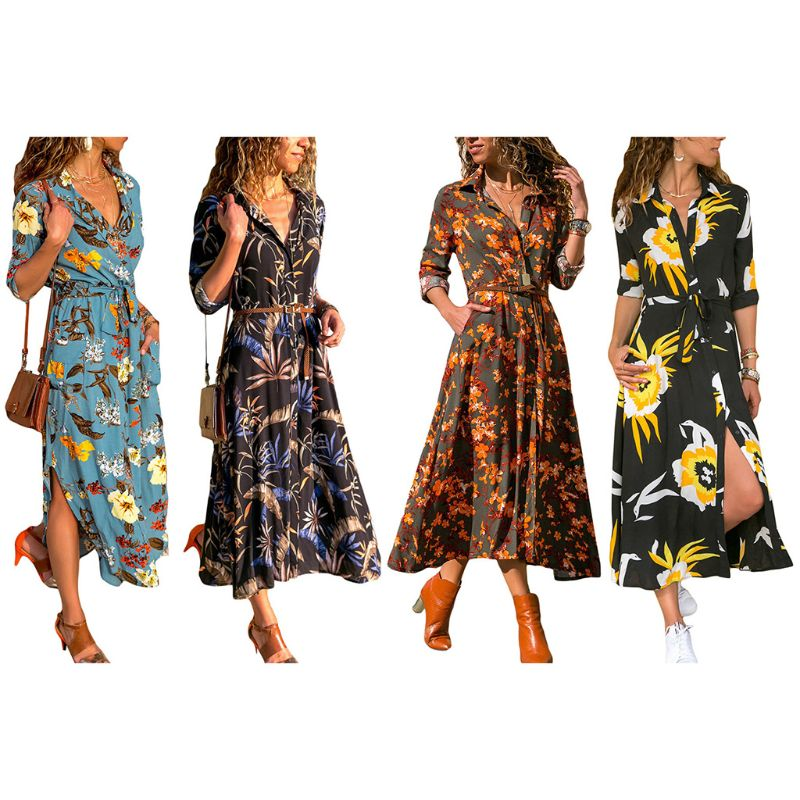 Women Summer Boho Half Roll Up Sleeve Long Maxi Dress Lapel Collar Button Down Wrap Floral Printed Belted Side Loose Sundress