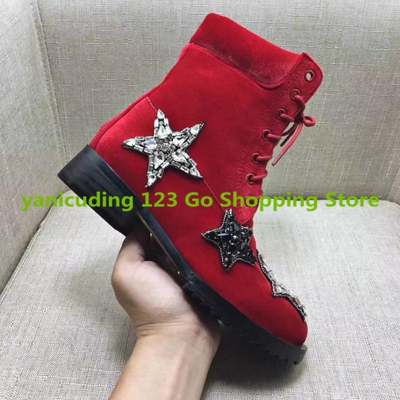 Round Toe Crystal Embellished Star Pattern Design Women Ankle Boots Front Lace Up Short Booties Low Heel High Top Brand Shoes round toe autumn shoes high heel platform black casual lace up 2017 front ankle boots booties patent leather female ladies new