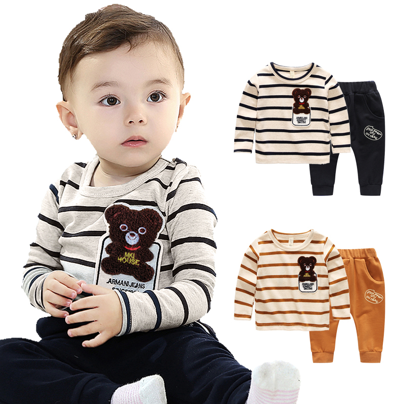Baby Boy Clothes Spring 2018 New 2 Pieces Clothing Sets Children Sports Suit for Boy 0-1-2-3-4 Years Old Cartoon Stripe Costume