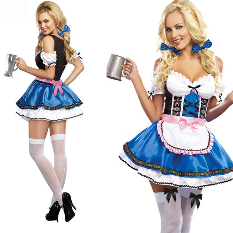 new blue Beer Girl  Cosplay Dress Sexy Women Beer Wench Costume  Female Waiter Oktoberfest  clothing French Maid Dress Halloween