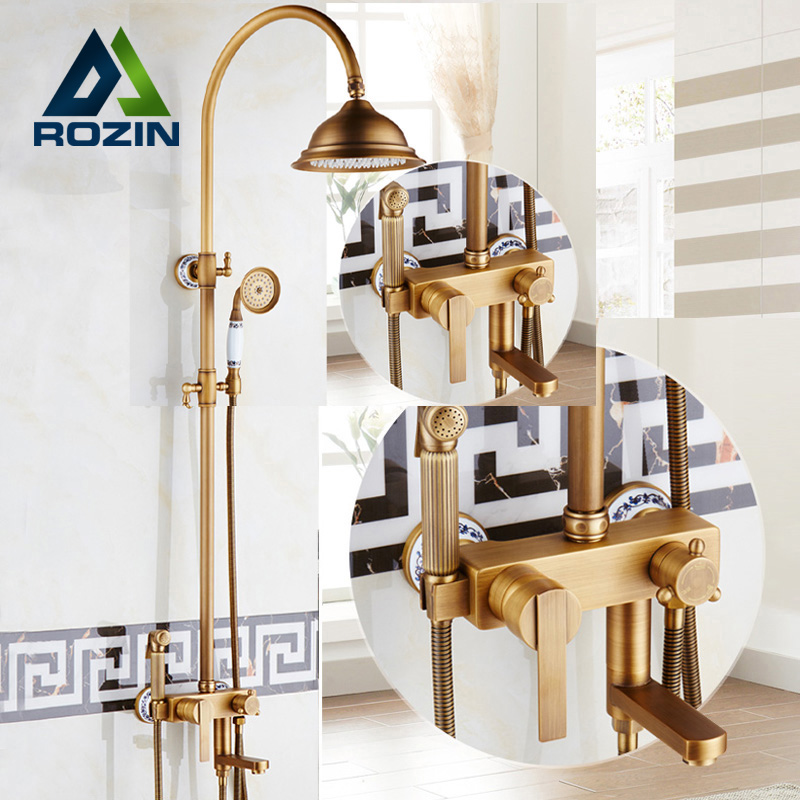 Antique Brass Rainfall 8 Shower Faucet Set Single Handle with Bidet Sprayer Head Bath Shower Mixers with Hand Shower Wall Mount chrome polished rainfall solid brass shower bath thermostatic shower faucet set mixer tap with double hand sprayer wall mounted
