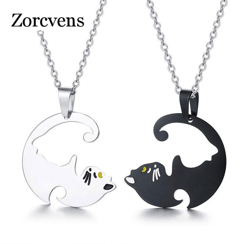 ZORCVENS 2020 Neue Mode Nette Seine und Ihre Paare Halsketten 316L Edelstahl Geliebtes Haustier Katze Anhänger Halskette für Frau