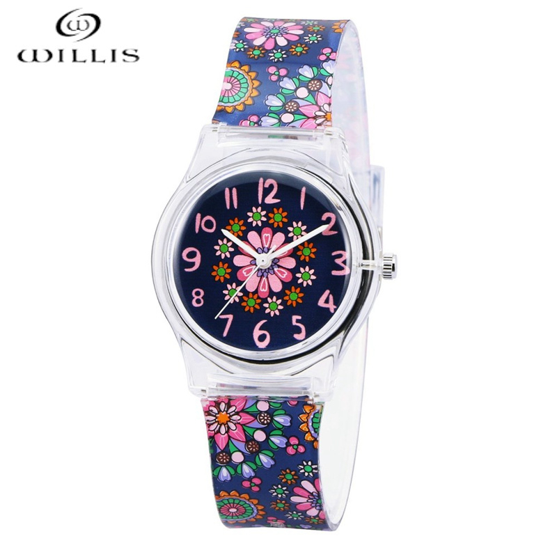 WILLIS Brand Leisure Women Waterproof Watch Flowers Pattern Students Kid Women Quartz Wrist Waterproof girl Silicone clock WatchWILLIS Brand Leisure Women Waterproof Watch Flowers Pattern Students Kid Women Quartz Wrist Waterproof girl Silicone clock Watch