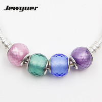925 gioielli In Argento Sterling piccolo sfaccettato perle di Murano quattro colori rosa/verde/blu/viola di fascini misura braccialetti FAI DA TE BD130