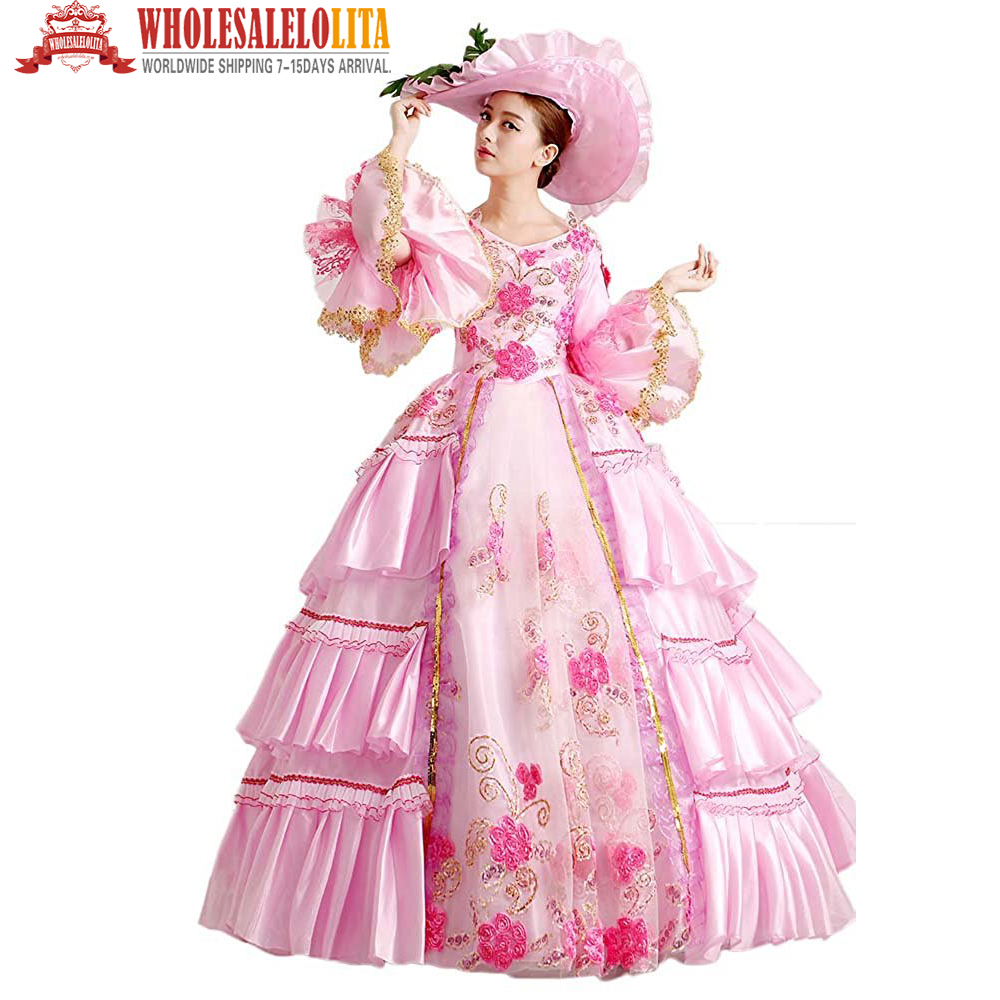 Pink Rococo Gown Reenactment Gothic Victorian Dress Prom Gown Theater Women Clothing
