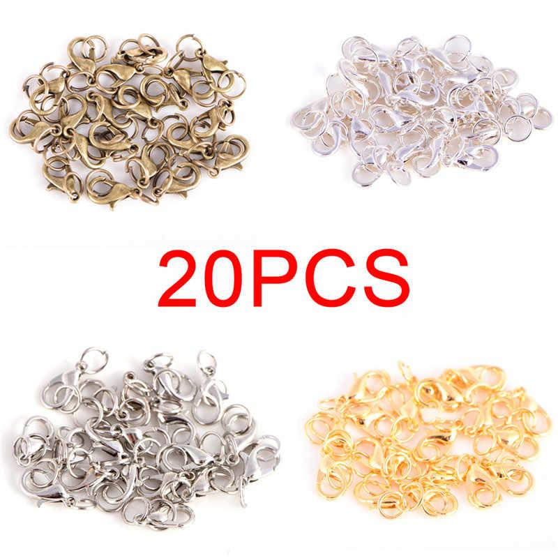 20 pièces fermoirs à griffes de homard anneaux de saut fendu style Boho faisant crochet anneau à sertir fin printemps collier chaînes à pression ensemble de perles