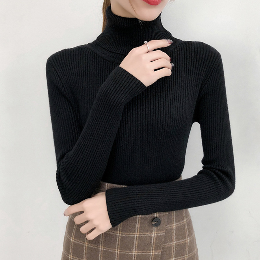 2019 New Hot Sale Women's Sweater Spring Autumn Turtleneck Shirt Women Long Sleeve Knitted Sweaters Korean Slim Fit Pullovers