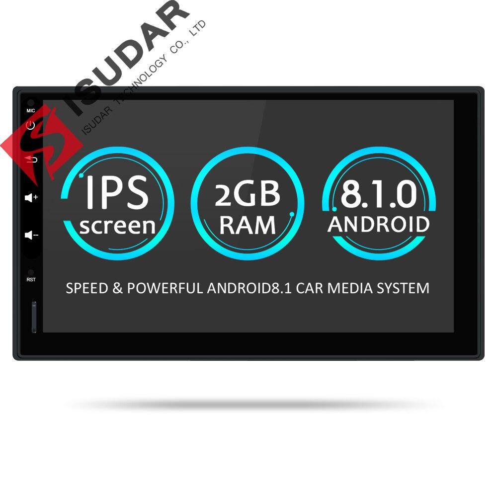 Isudar Универсальная магнитола 2 Din на Андройд 8,1 с DVD привода Wifi Радио/ FM /GPS /USB /DVR/ OBD2 с Поддержкой Камеры Заднего Вида 2G ROM 16G