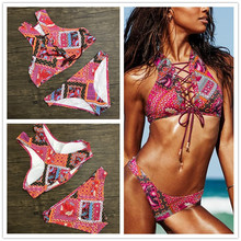 2017  New High Neck Small Vest Style Crop Top Bikini Sets Beachwear Swimsuit Bandage Halter Women Printed Floral