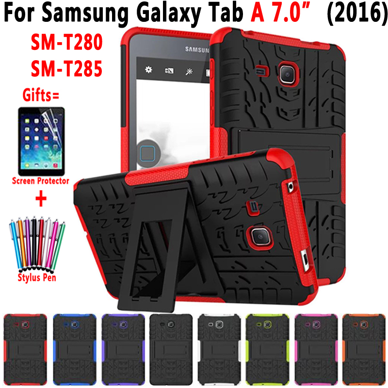 Hybrid Armor Kickstand Silicon Tablet Case for Samsung Galaxy Tab A A6 7.0 inch 2016 T280 T285 SM-T280 SM-T285 Cover Funda Coque 2016 new arrival leather case for samsung galaxy tab a a6 7 0 t280 t285 sm t280 cases cover tablet funda hand holder business