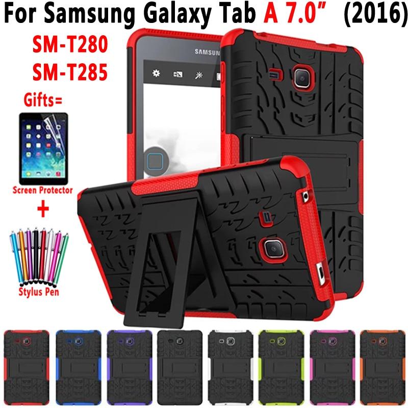 Hybride Armure Béquille Silicon Tablet Cas pour Samsung Galaxy Tab UN A6 7.0 pouce 2016 T280 T285 SM-T280 SM-T285 Couverture funda Coque