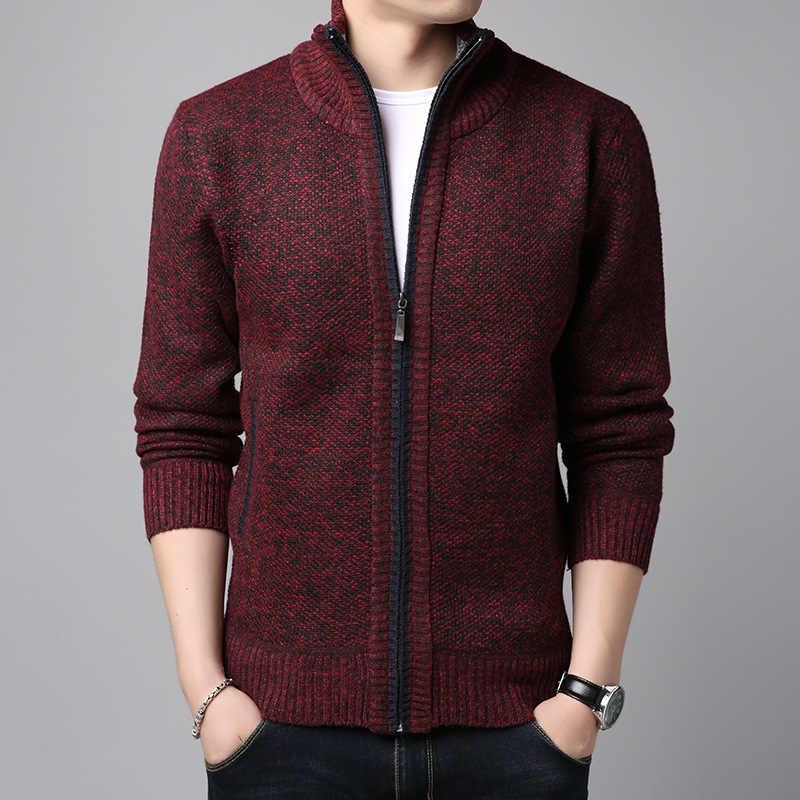Di spessore Nuovo di Marca di Modo Maglione Per Uomo Cardigan Slim Fit Pullover Maglieria Autunno Caldo Stile Coreano casual Abbigliamento Maschile