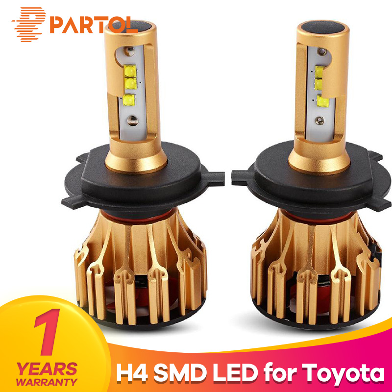 Partol T6 H4 Hi Lo Beam Car LED Headlight Bulbs 70W 7000LM SMD Automobile Headlamp Front Lights 6500K For Toyota Higlander Supra