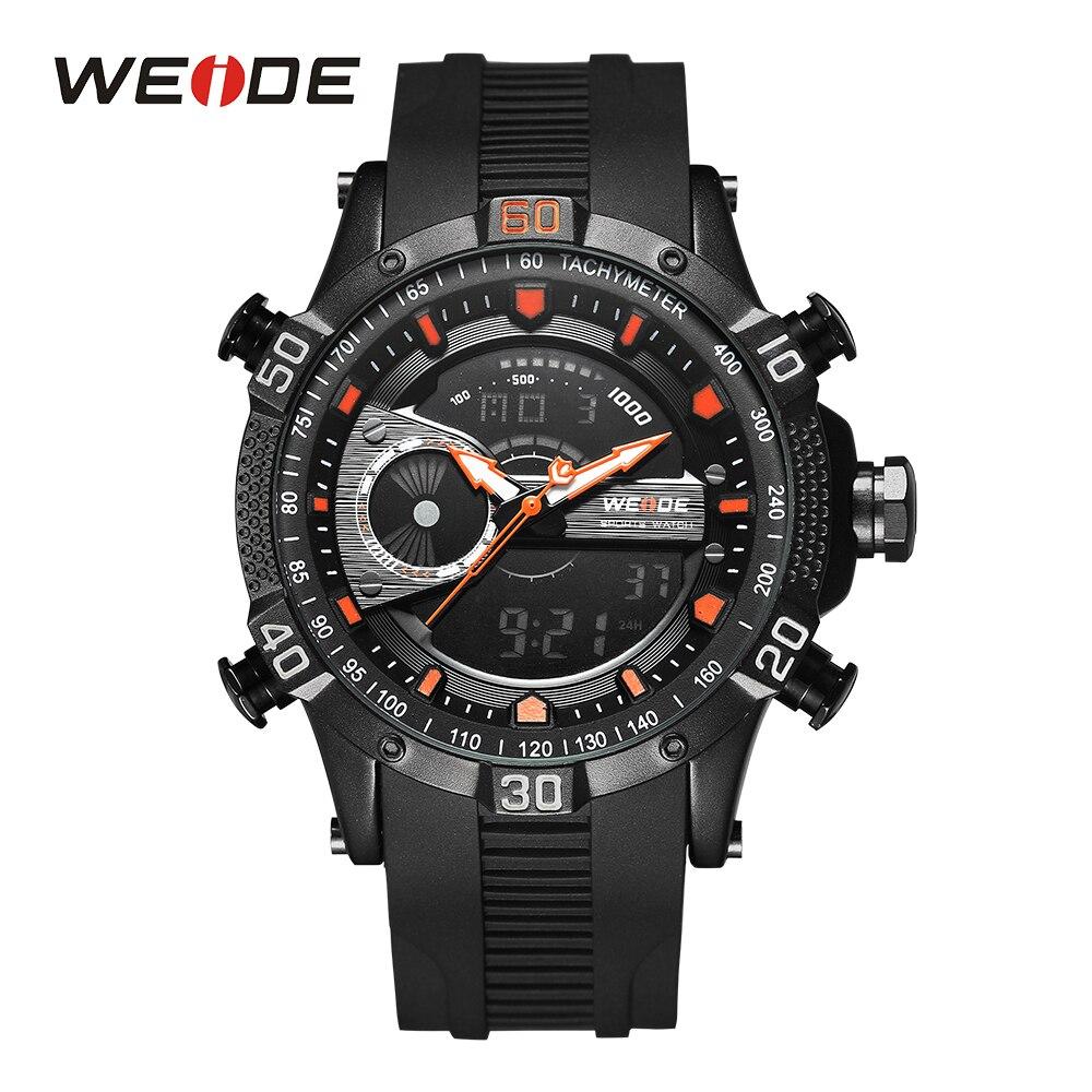 где купить WEIDE Top Luxury Brand Watch LCD Display Chronograph Water Resistant Alarm Hardlex Round Dial Rubber Band Quartz Wrist Watch по лучшей цене