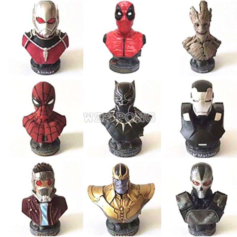 Avengers 3 Infinity War Tree Man Thanos Spiderman Iron Man Star Lord Deadpool Superhero Resin Bust Action Figure Statue