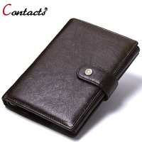 Contact S Genuine Leather Wallet Men Coin Purse Male Clutch Credit Card Holder Passport Cover Organizer