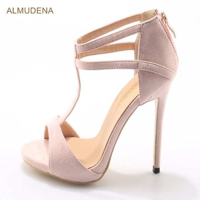 54e5a1a00ecb ALMUDENA Young Girl s Light Pink Suede High Heel Sandals Stiletto Heel  Strappy Dress Shoes T-strap Wrapped Heel Shoes Dropship